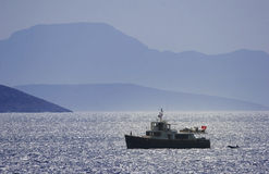 Private motor yacht at open sea. Yalikavak, Bodrum, Turkey Royalty Free Stock Image