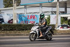 Private Motorcycle, Honda Click. Chiangmai, Thailand - February 4 2019: Private Motorcycle, Honda Click. Photo at road no.121 about 8 km from downtown Chiangmai stock photo