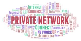 Private Network word cloud. Word cloud made with text only stock illustration