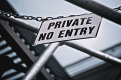 Private No Entry Sign Stock Photo