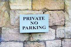 Private no parking sign Royalty Free Stock Photography