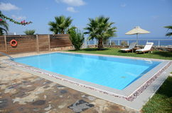 Private oceanside swimming pool. Private pool with a view of the Mediterranean Royalty Free Stock Photos