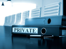 Private on Office Binder. Blurred Image. 3D. Stock Photo