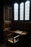Private office reading room. Vintage  private office  reading  room with stained windows Royalty Free Stock Images