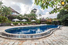 Private old villa with pool outdoor Royalty Free Stock Image