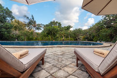 Private old villa with pool outdoor Stock Images