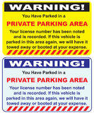 Private parking area. Two warnings options private parking area. Vector Stock Image