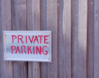 Private parking sign Royalty Free Stock Image