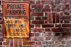 Private Parking Sign Rusted Texture Stock Image