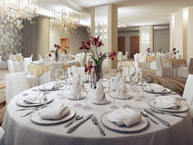 Private party ballroom in restaurant Stock Photo