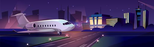 Passenger aircraft on airport runaway vector vector illustration