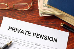 Private pension form. Private pension form on an office table Royalty Free Stock Photography