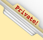 Private Personal Information Sensitive Documents Records Folder. Private word in red letters on a manila folder tab to illustrate records, documents or personal Royalty Free Stock Photos