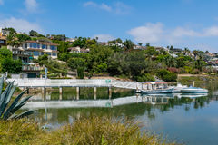 Private pier and boats. At beautiful sunny day Royalty Free Stock Photography