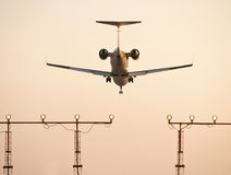 Private plane. Landing at dusk Royalty Free Stock Photo