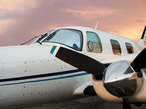 Private Plane. Private airplane closeup with propeller engine Stock Image