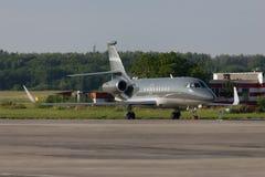 Private plane Falcon. Private plane, Rostov-on-Don, Russia, 4 July 2012 Stock Photos
