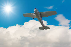 Private plane fixed wing single engine aircraft flying in sky. Stock Photography
