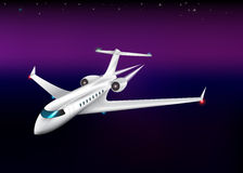 Private plane flying at  the night,eps 10. Private plane flying at  the night,eps 10 Stock Images