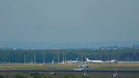 Private plane landing stock video footage