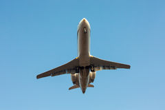 Private plane landing. On a runway stock images