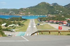 Private plane landing in St. Barth Stock Images