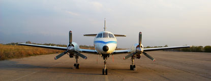 Private plane on old airport Royalty Free Stock Photos