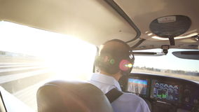 Private Plane Pilot Cabin, Control Air Navigational System Royalty Free Stock Photography