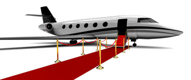 Private plane with a red carpet entrance Royalty Free Stock Photography