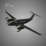 Private plane vector illustration icon. Twin engine propelled aircraft. Vector illustration. Small plane vector illustration. Twin engine propelled aircraft Stock Image