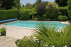 Private pool. With fresh water in a beautiful garden in sunshine royalty free stock photos