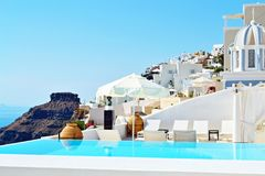 Spectacular view private pool Santorini resort hotel Stock Photo