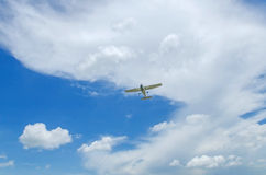 Private propeller. Plane in blue sky. Flight training Stock Photography