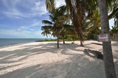 Private Property. On amazing beach in Belize Royalty Free Stock Photo