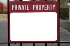 Private Property. Sign with blank section for writing or images Stock Image