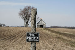 Private Property 2. A private property sign posted in front of an abandoned rural property royalty free stock photography