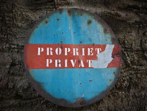 Private property. Italians rusty private property sign Stock Image