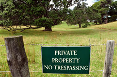 Private Property. A sign of Private Property in New Zealand Royalty Free Stock Photos