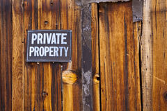 Private Property. Sign on old weathered wooden wall Stock Photography