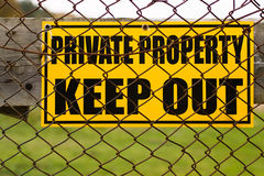 Private property. Sign with Private property and Keep Out message Royalty Free Stock Photography