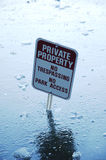 Private Property. Sign misplaced in the ice covered lake Stock Photo