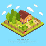 Private Property Boundary Fences Isometric Illustration. Private suburb property with fence boundary isometric image with piece of land and country house Stock Photo