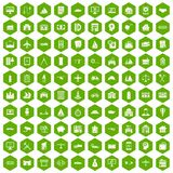 100 private property icons hexagon green. 100 private property icons set in green hexagon isolated vector illustration Stock Photos