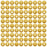 100 private property icons set gold. 100 private property icons set in gold circle isolated on white vectr illustration royalty free illustration