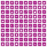 100 private property icons set grunge pink. 100 private property icons set in grunge style pink color isolated on white background vector illustration Royalty Free Stock Images