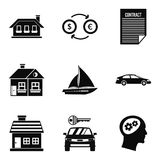 Private property icons set, simple style. Private property icons set. Simple set of 9 private property vector icons for web isolated on white background Stock Photography