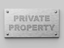 Private Property Metall Door Plate. 3D Illustration. Business Concept Stock Images