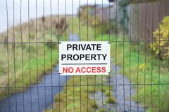 Private property no access sign in country rural area. Uk royalty free stock photo