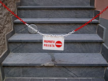 Private property, no entry, Italy.  IN ITALIAN. Royalty Free Stock Photo