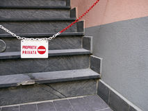 Private property, no entry, Italy. IN ITALIAN LANGUAGE. Royalty Free Stock Photography